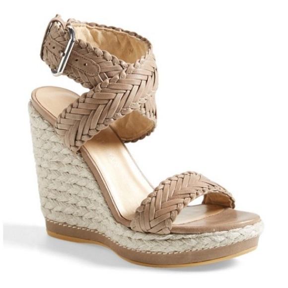 Stuart Weitzman Elixir Wedge Sandals Natural 8.5